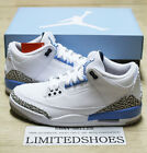 2020 NIKE AIR JORDAN 3 III RETRO UNC CAROLINA VALOR BLUE WHITE CT8532-104 MENS