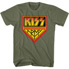 Kiss Army Fan Logo T Shirt Khaki Hard Rock Band Heavy Metal Concert Merch image