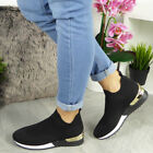 ,Women's Sock Wedge Trainers Ladies Slip On Sneakers Jogging Pumps Classic Shoes