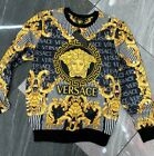 NWT MEN'S GOLD MEDUSA BAROQUE MOTIF LONG SLEEVE SLIM FIT LUXURY BLACK T-SHIRT