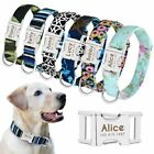 Floral Printed Nylon Personalised Dog Collar with Custom Engraved Name Plate