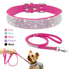 Soft Suede Leather Bling Rhinestone Pet Puppy Small Dog Collar Leash Combo Set