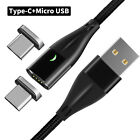 Magnetic USB Type-C Fast Charger Data LED 3A Cable For Samsung S20/S10+ Note 9/8