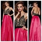 ANGELA AND ALISON 51015 Strapless black fuchsia ball gown with lace top size 0,2