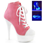 PLEASER DELIGHT-600SK-02 PINK CANVAS LACE-UP PLATFORM SNEAKER BOOTS
