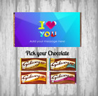 Personalised Chocolate Bar - I love you - Blue Design - Heart - Valentines Gift