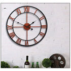 13'' Large Garden Wall Clock Antique Roman Numeral Round Open Home Outdoor NEW