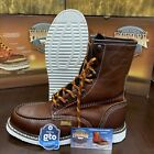 "Men's 8"" Soft Moc Toe Safety Oil Slip Resistant Waterproof Leather Work Boots"