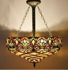 Tiffany Style Ceiling Lamp Stained Glass Uplighters Handcrafted 18inch Art Light