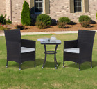 Rattan Bistro Set Garden Patio Furniture Conservatory 2 Arm Chairs Glass Table