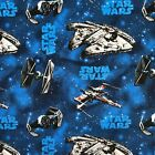 STAR WARS REBEL SHIPS ON BLUE 100% cotton fabric 44 inch/ 110cm space starwars