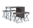 Rattan Garden Bar Set Outdoor Folding Furniture Dining Table 4 Stool Patio Chair