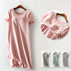100% Cotton Built In Bra Wireless Striped Patio Dress Night Lounge Sleepwear