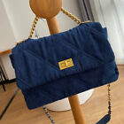 3 Szs Quilted Denim Shoulder Bag Gold & Silver Tone Metal Chain Purse Crossbody