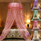 Lace LED Light Princess Dome Mosquito Net Mesh Bed Canopy Bedroom Home Decor image
