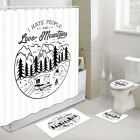 RV Forest Camp Shower Curtain Toilet Cover Rug Bath Mat Contour Rug Set