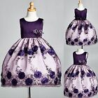 Satin Floral Embroidery Dress w/ Sequence Detail Flower Girl Pageant #09