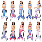 Kids Girls Mermaid Swimsuit 3pcs Mermaid Tails Swimming Swimwear Bikini Sets