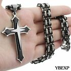 20''-36''men Stainless Steel Cross Pendant Black Necklace Byzantine Box Necklace