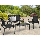 4 Pcs Patio Furniture Set Sofa Coffee Table Steel Frame Garden Deck Black / Gray