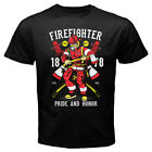 Firefighter USA Flag American Pride Honor Men's Tee Gildan T shirt size S to 2XL image