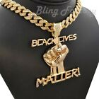 """Black Lives Matter Fist Pendant & 16"""" 18"""" 20"""" Full Iced Cuban Chain Necklace"""
