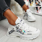 WOMENS LADIES LACE UP CHUNKY FASHION SNEAKERS WOMEN PARTY TRAINERS SHOES SIZE