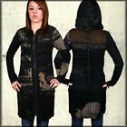 Salvage Gallery Corset Tie Women Long Sleeve Zip Hoodie Jacket Dress Black Brown $161.66 AUD on eBay