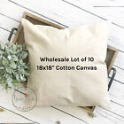 18x18 Wholesale Blank 10 oz. Cotton Canvas Throw Pillow Cover - Lot of 10 Blanks
