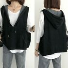 Lady Denim Vest Tank Tops Hoodie Pullover Sleeveless V Neck Loose Casual Retro