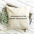 20x20 Wholesale Blank 10 oz. Cotton Canvas Throw Pillow Cover - Lot of 20 Blanks