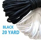 "1/8"" 3mm Round Soft Elastic Cord Black White Diy Making Mask 20 Yards"
