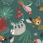 Papaya / Payadi Sloth & Friends Green - 100% Cotton Fabric Childen Quilting