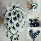 Navy Blue White Calla Lily Bridal Wedding Bouquet & Boutonniere