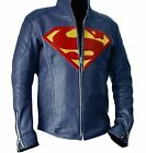 NEW SUPERMAN HALLOWEEN COSTUME SMALLVILLE NAVY BLUE REAL LEATHER SHIELD JACKET