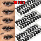 10Pairs 3D Mink False Eyelashes Wispy Cross Fluffy Natural Extension Lashes USA