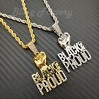 Kyпить Hip Hop Icy BLACK LIVES MATTER BLACK PROUD Pendant & 4mm 24