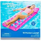 Summer Waves 18-pocket lounge pool float 66in x 26in x 10in floating mattress