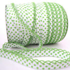 Picot Lace Edge Dot Bias Binding - White Green - Cotton Fabric Trim