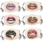 Women Funny 3D Red Lips Print Face Mask Cycling FaceMask Washable Travel Mask