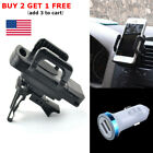 2-in-1 Dual USB LED Car Charger & Air Vent Mount Holder Stand Mount For Phone US