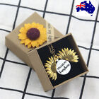 New You My Sunshine Sunflower Silver Rose Gold Open Pendant Gift Necklace Women