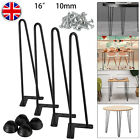4x Hairpin Table Legs 2/3 Prong 10mm Iron 8/14/16/28inch Coffer Table Desk Bench
