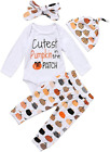 Cute Infant Baby Girl Boy Halloween Clothes Pumpkin Romper With Hat And Long Pan