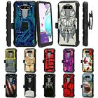 For LG Tribute Monarch / Risio 4 Rugged Armor Hybrid Holster Belt Clip Case