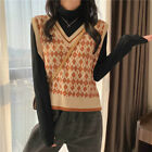 Lady Knitted Vest Tank Tops Sweater Waistcoat Sleeveless V-neck Geometric Casual