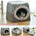 US Soft Foldable Dog Cat House Nest Removable Puppy Cave Bed Pad Pet Kennel Warm