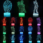 Marvel Superhero 3D LED Night Light 7 Colors Changing Touch Desk Lamp Xmas Gifts