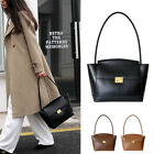 Small Real Leather Trapeze Shoulder Bag Trapezoid Baguette Purse Tote Handle