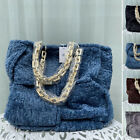 Medium Woven Fleece Chunky Chain Tote Faux Fur Shopper Bag Purse Top Handles